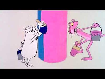"""Fotograma del primer curtmetratge de La pantera rosa, """"Incordi rosa""""."""